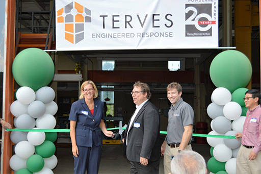 Euclid Mayor Kirsten Holzheimer Gail with Terves' CEO and Founder Andy Sherman and COO Brian Doud at Terves' 20th anniversary event and ribbon-cutting ceremony in August 2016 for the newly opened TervAlloy foundry